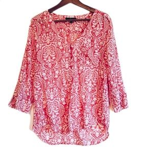 5/20$ Fred David Red & White Floral Paisley Blouse